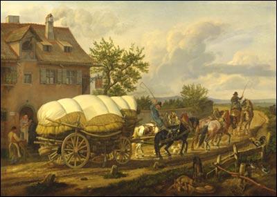 Een hessenwagen met een zesspan paarden ervoor bij een herberg in Buch bij Neurenberg , Schilderij van Johann Adam Klein (1792-1875) - Eigendom: ©JGS/Verzameling Stadsmuseum Neurenberg.verzameling Stadsmuseum Neurenberg.