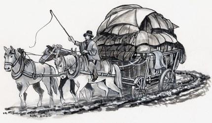 De Hessenvoerman zeulend met z'n wagen door de karresporen
