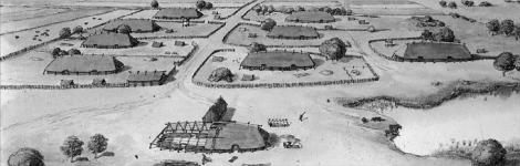 Zo moet de nederzetting die in het Kootwijkerzand werd opgegraven er in de 8e eeuw hebben uitgezien.
