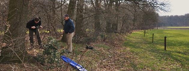 Grondboringen op en rondom de wildwal bij landgoed 'de Driesingel' te Lunteren. Foto: LF