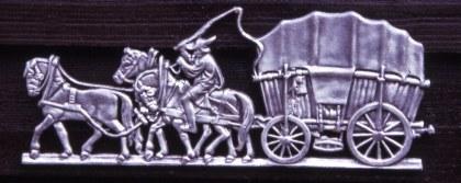 Ornament Hessenwagen op de voorgevel van het Gazenbeek Centrum