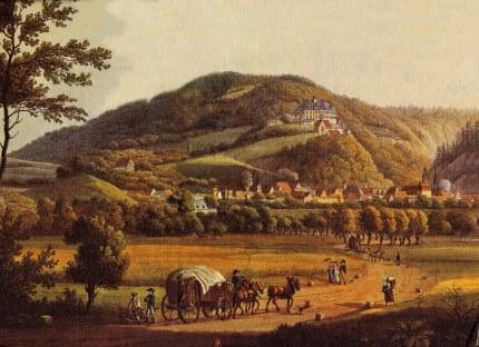Uitzicht op de stad en het slot Werningerode rond 1810 - Schilderij van Anton Balzer