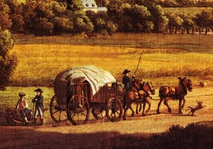 De Hessenwagen met een driespan, de hond loopt voorop