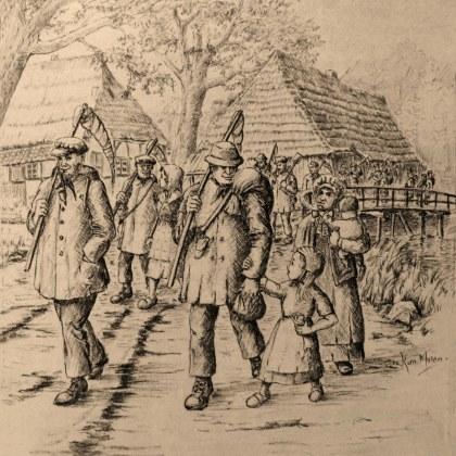 Hannekemaaiers vertrekken uit hun dorp Tekening: Korn Mulder - 1983