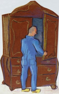 kastde kolossale kasten werd met een grote sleutel knerpend opengemaakt