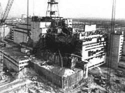 De reactor in Tsjernobyl na het ongeluk
