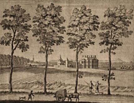 Gezicht vanaf de Middachter Allee op kasteel Middachten rond 1700