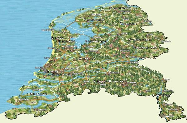 Op deze kaart is duidelijk te zien dat Nederland bijna helemaal uit rivierdelta bestaat
