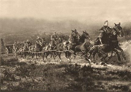 Demonstratie van een aanspanning van tien paarden met een 7-Veld kanon op de Ginkelse Heide Foto: Gemeentearchief Ede (klik om te vergroten)