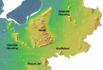 Het huidige reliëf van Midden-Nederland (bron: www.ahn.nl)