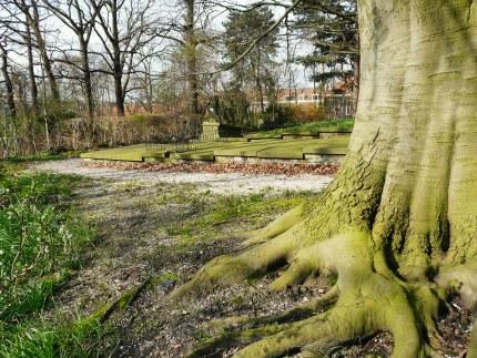 Onder oude bomen vonden wij het graf van Johan Willem van Doorninck (Foto: Fransien Fraanje)