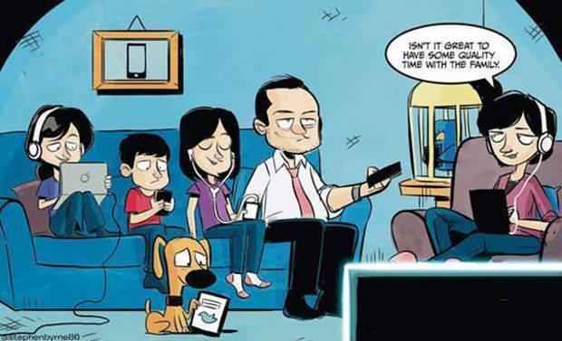 1 - alle gezinsleden bezig met wifi