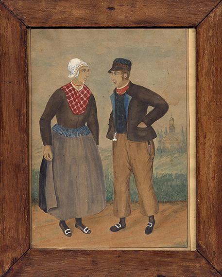 veluwse klederdracht boer en boerin uit Doornspijk-bw-klein