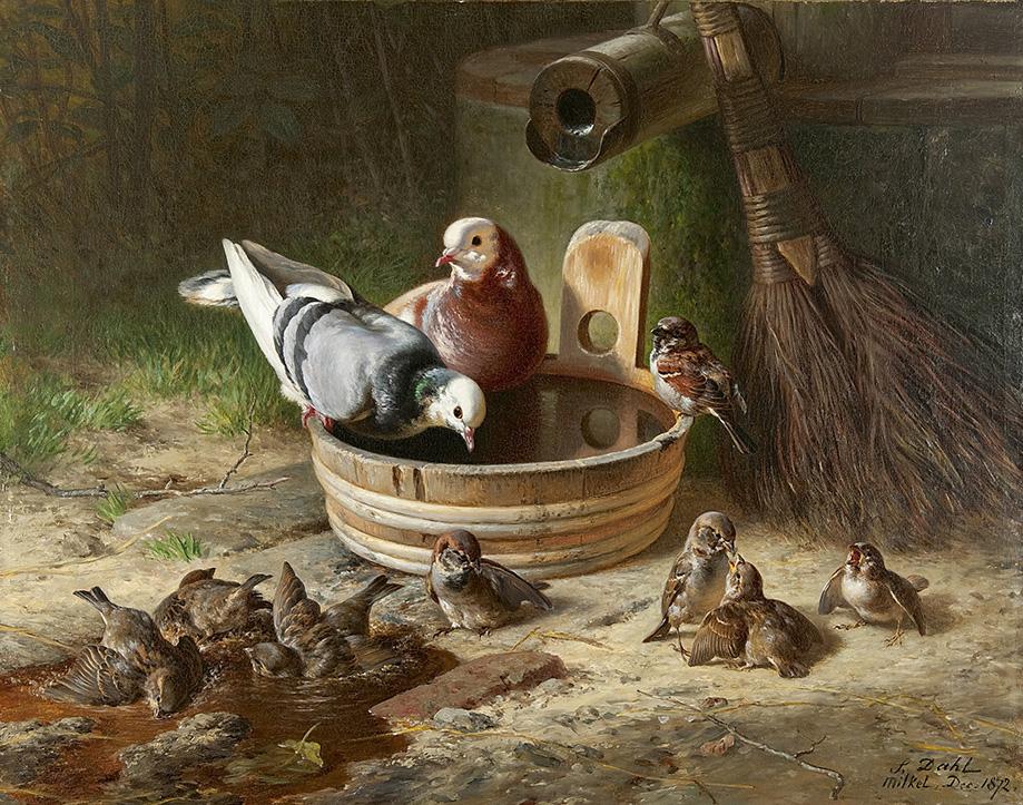 13749 - kopieOlieverfschilderij hangt met duiven van Hans Dahl, geschilderd in 1872.