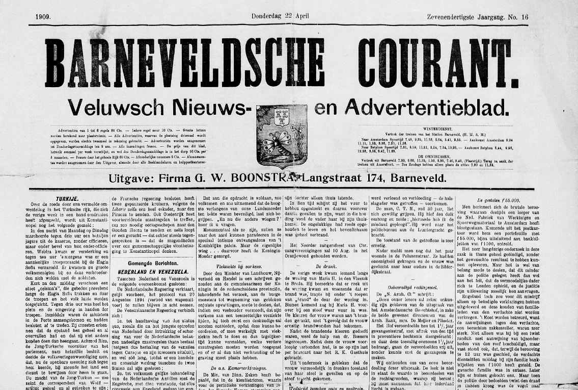 Barneveldsche Courant van Donderdag 22 april 1909 - Foto: ©Archief Ede