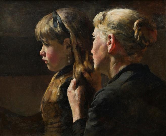 Moeder en kind met als titel 'Suusje aankleden' - Schilderij van Arthur Briët (ca.1900)