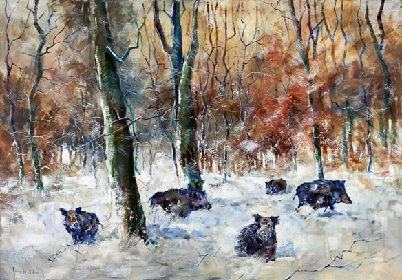 image003Wilde zwijnen in het winterbos - Jaap Hiddink