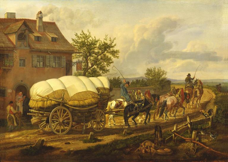Een Hessenwagen met zesspan paarden ervoor vertrekt bij een herberg in de omgeving van Neurenberg – Schilderij Johann Adam Klein – ©Jac. Gazenbeekstichting/Gemälde- und Skulptursammelung der Stadt Nürnberg