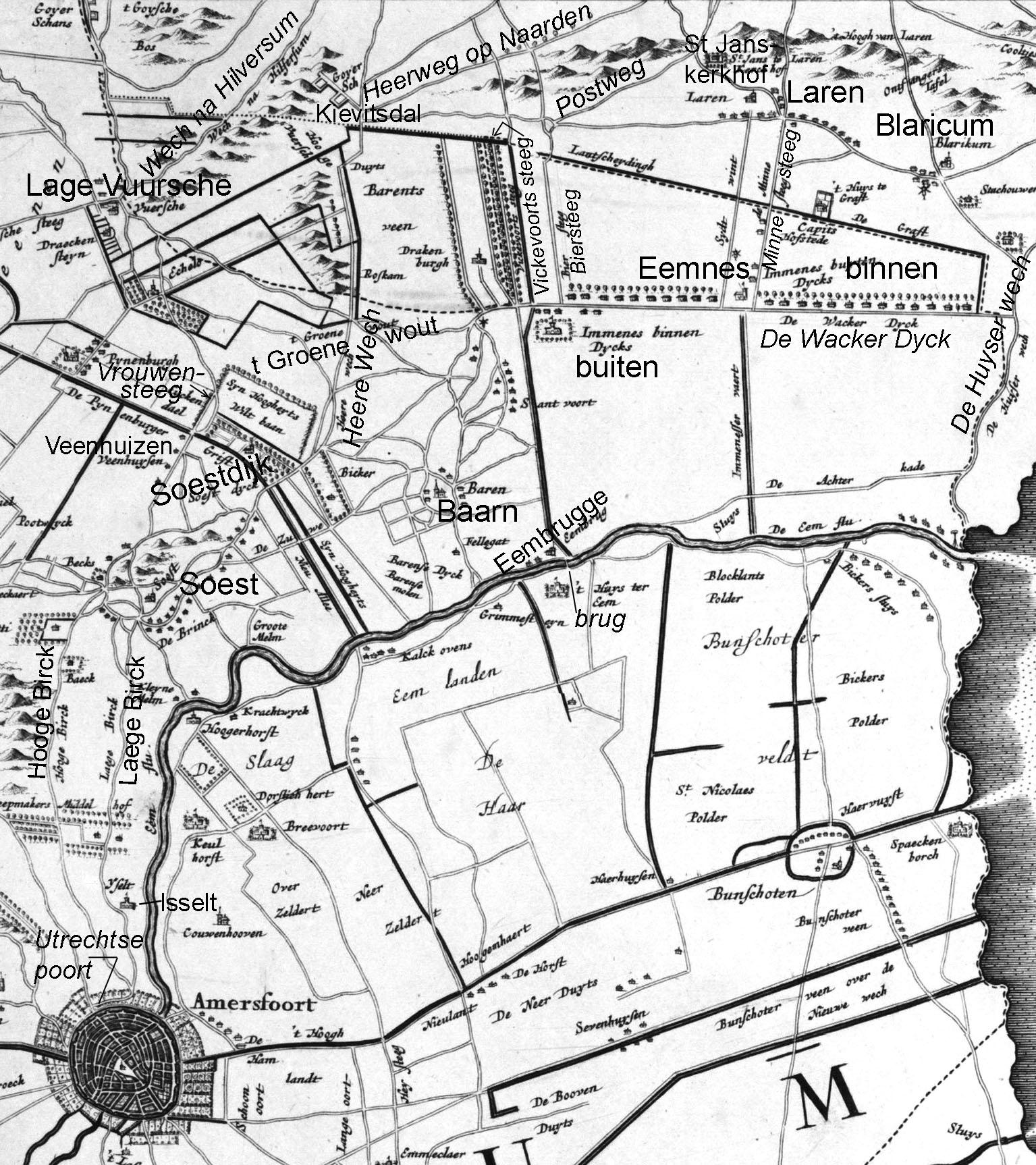Afbeelding 3 - Fragment van de kaart 'Comitatus Hollandiae et Domini Ultraiectini Tabulal Anno 1681, Amstelodami' door F . de Wit, noorden rechts - Collectie Het Koninklijk Nederlands Aardrijkskundig Genootschap; bewerking door auteur