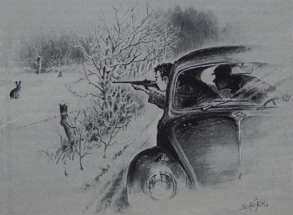 Stropers in het veld – Illustratie: B. Schrijer(†)