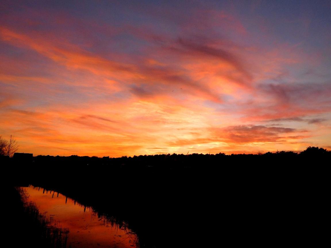 De avondzon zakt langzaam achter de bomen van De Koog op Texel - Foto: ©Louis Fraanje
