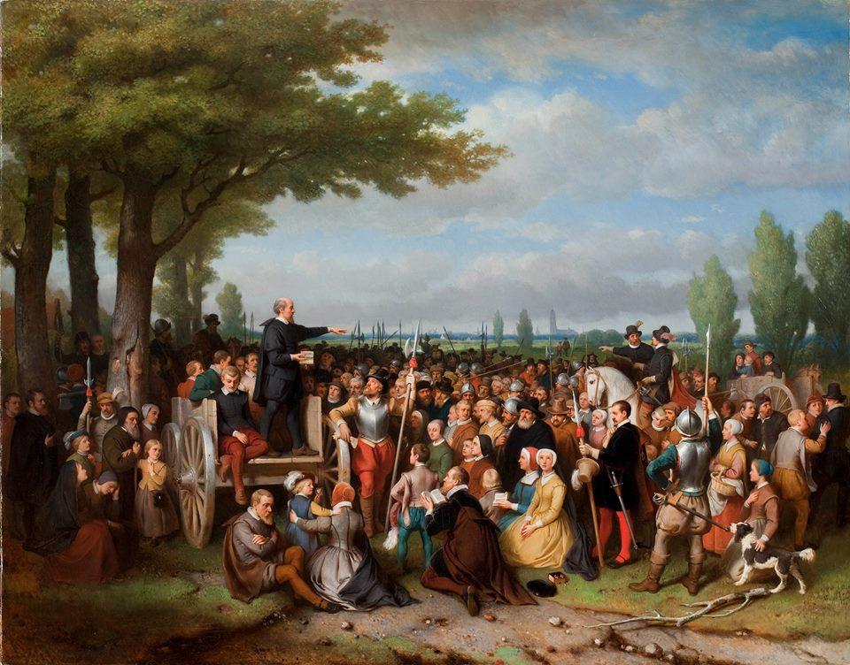 Hagepreek buiten Utrecht in 1860 - Bastiaan de Poorter(1813-1880), (Collectie Museum Catharijneconvent Utrecht)