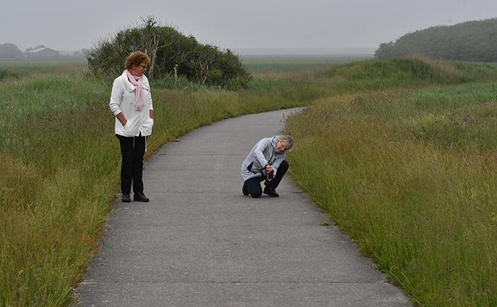 Janny kijkt toe, hoe Fransien door de knieën gaat om de Fraanjes op de kiek te zetten - Foto: ©Louis Fraanje