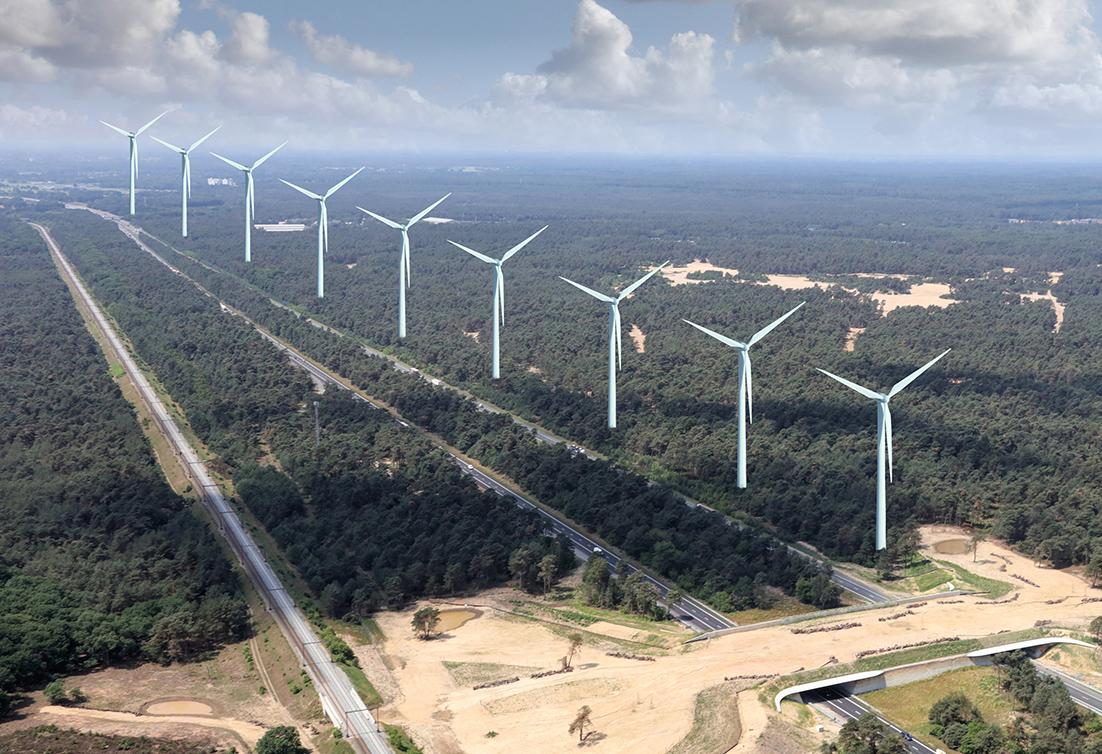 Misschien wel 9 windmolens in de natuur bij Barneveld - Montagefoto: ©Jan van Uffelen
