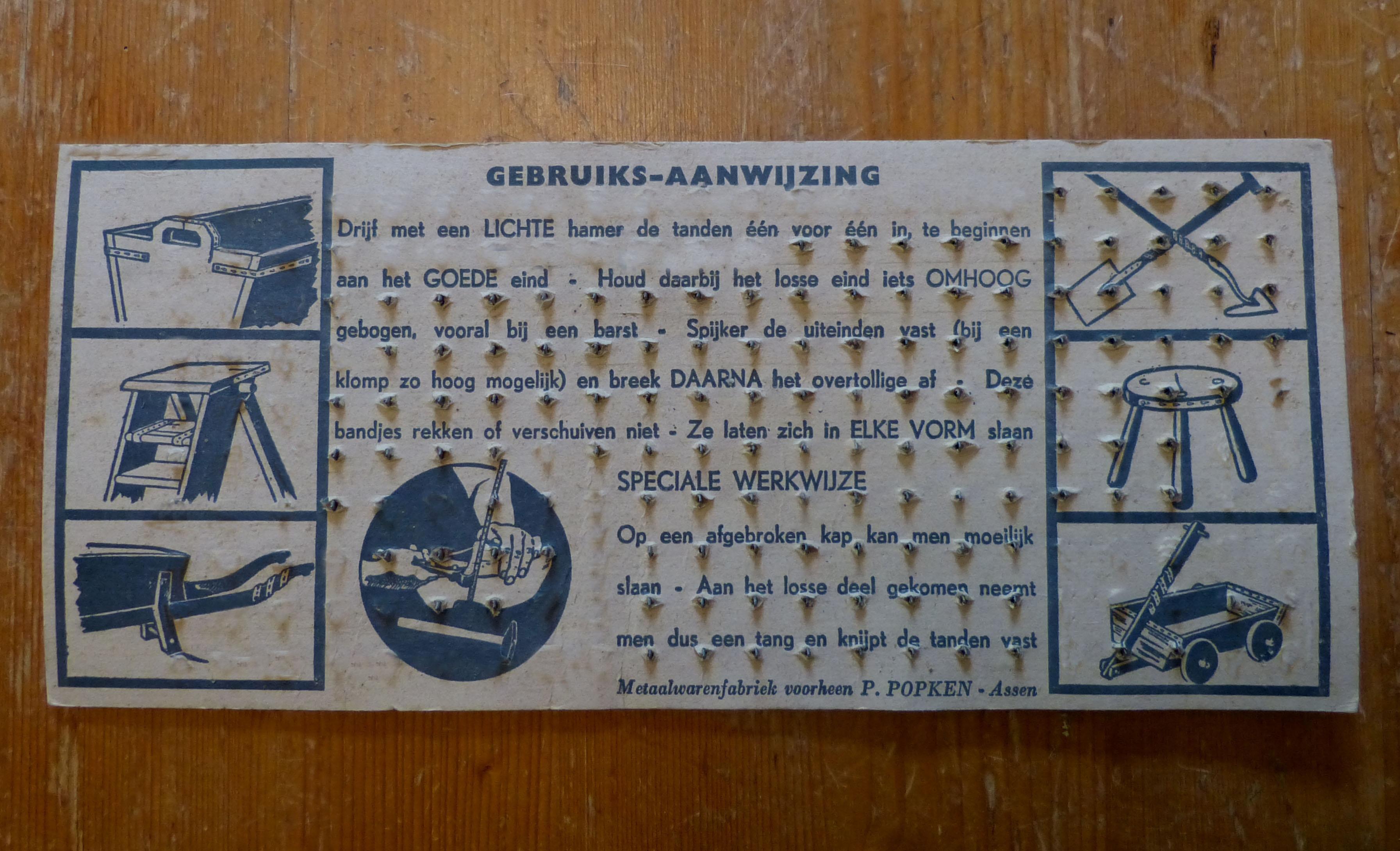 kaart met klampbandjes