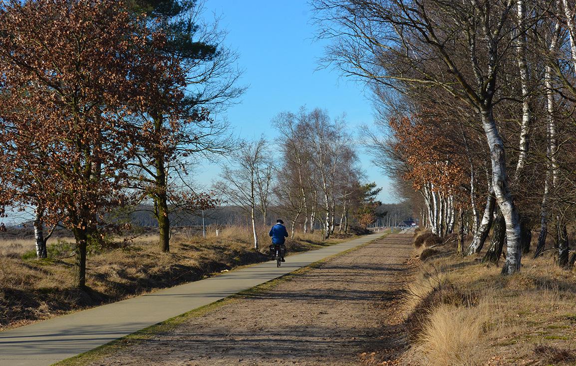 Een eenzame fietser op weg...Foto: ©Louis Fraanje