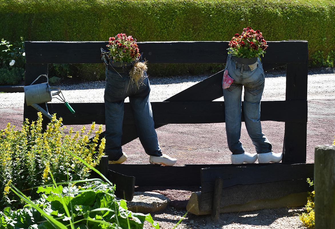 """""""Broekzakkerig weer"""", maar deze broeken gaan blijkbaar """"de bloemetjes buiten zetten""""! - Foto: ©Louis Fraanje"""