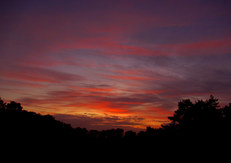 Op de terugweg kleurt de avondhemel vlammend rood – Foto: ©Louis Fraanje