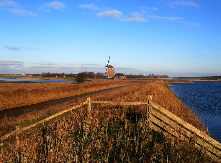 Middenin de de polder staat de molen Het Noorden – Foto: ©Louis Fraanje