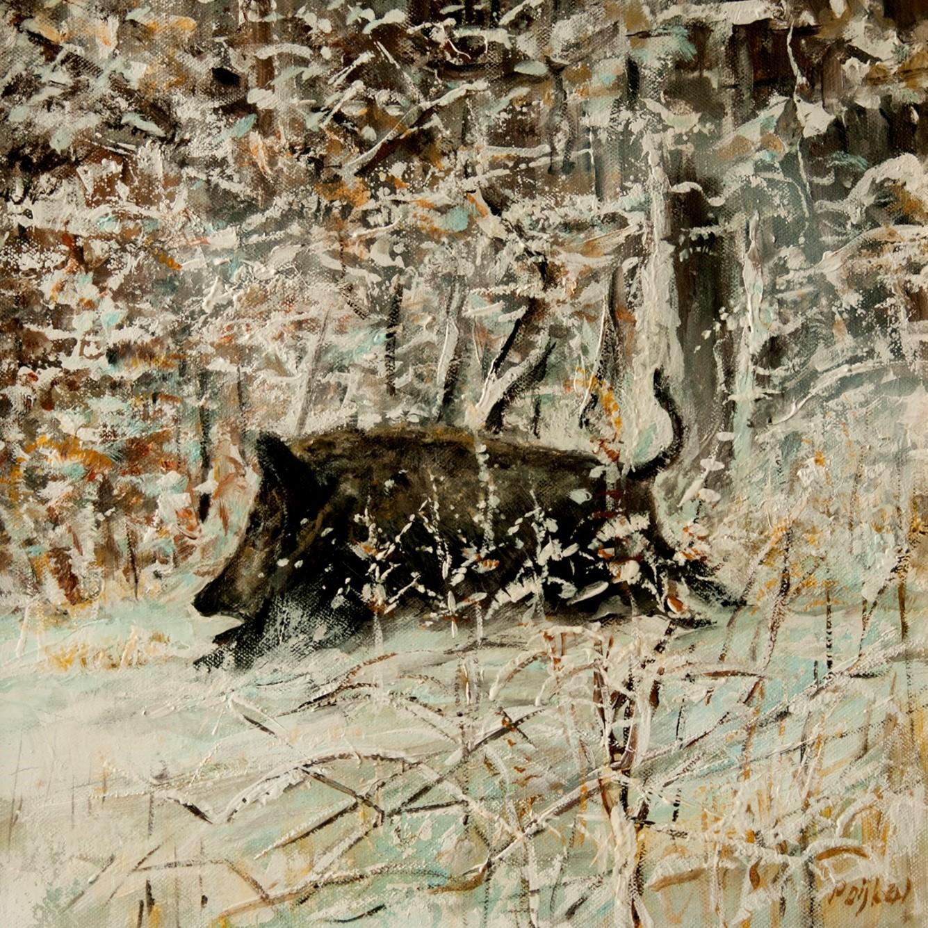 Schilderij wildzwijn in volle run door sneeuwlandschap - ©kunstschilder P. Dijken.