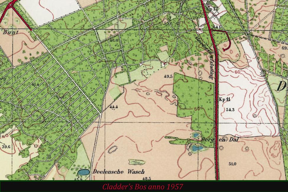 De Gietense Flessen op de plaats van Berg en Dal (met een aardige oppervlakte bos) op topografische kaart anno 1957 – Foto van beeldscherm: Yvonne Arentzen