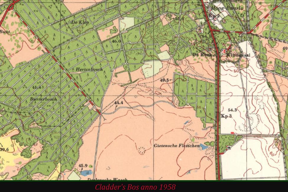 De Gietense Flessen zonder bos op topografische kaart anno 1958. Noordelijker is bos overgebleven met singels en kruiswegen! – Foto van beeldscherm: Yvonne Arentzen]