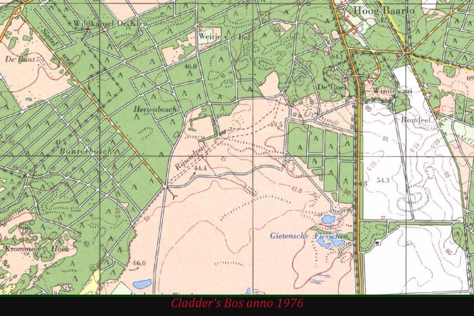 Cladder's Bos stond in 1976 nog op de topografische – foto van beeldscherm: Yvonne Arentzen