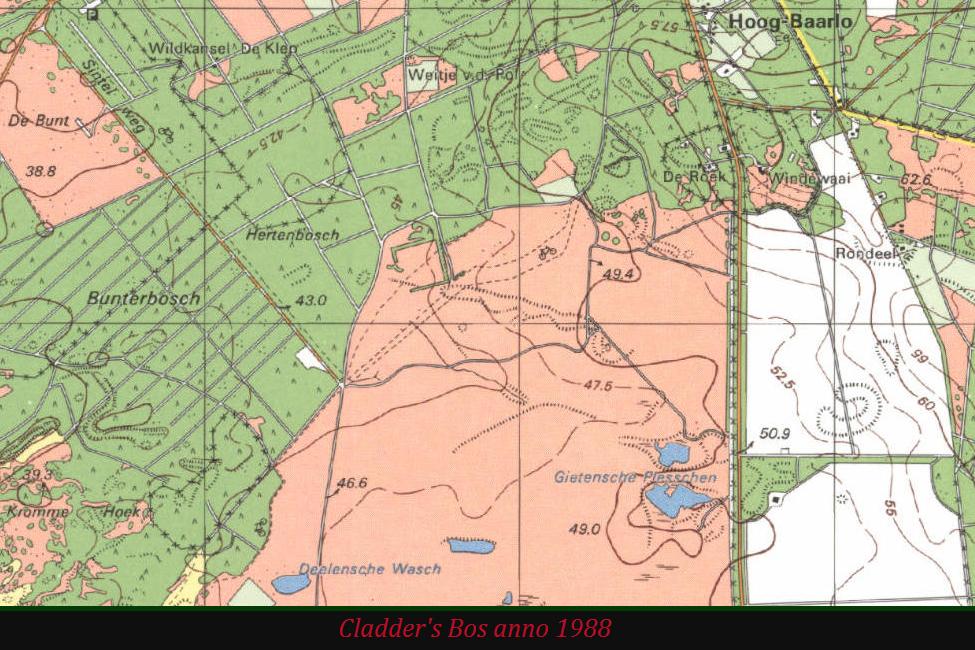 Topografische kaarten hobbelen achter de feiten aan. Pas in 1988 was Cladder's Bos van de kaart gehaald – foto van beeldscherm: Yvonne Arentzen
