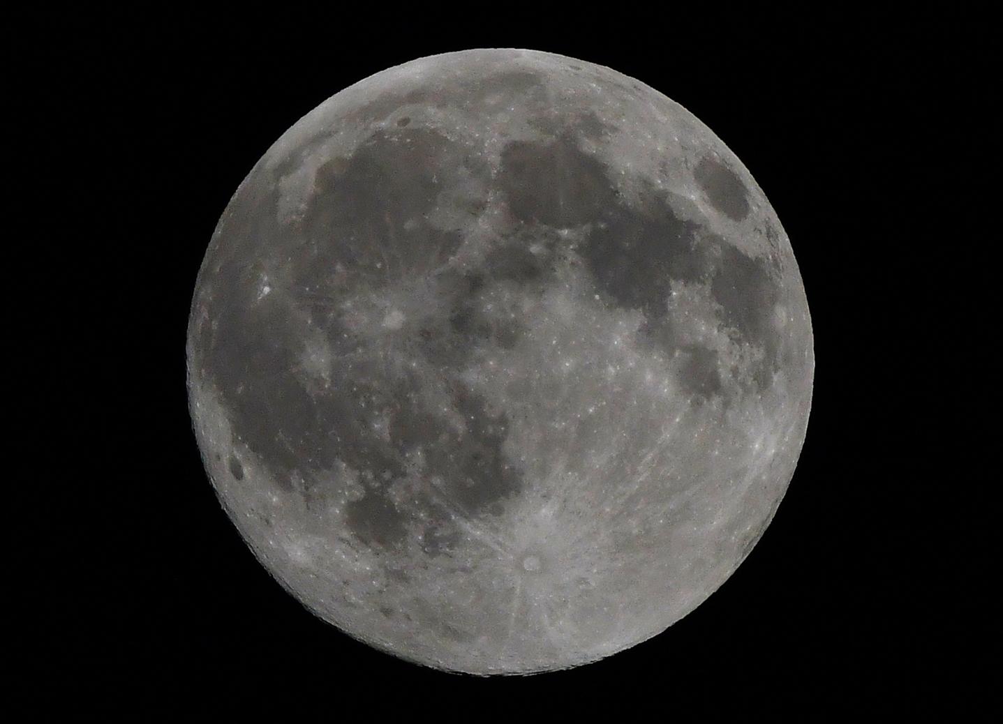 Zaterdag 8 februari 2020 stond om 23.03 uur de maan vol aan de nachtelijke hemel - Foto: ©Louis Fraanje