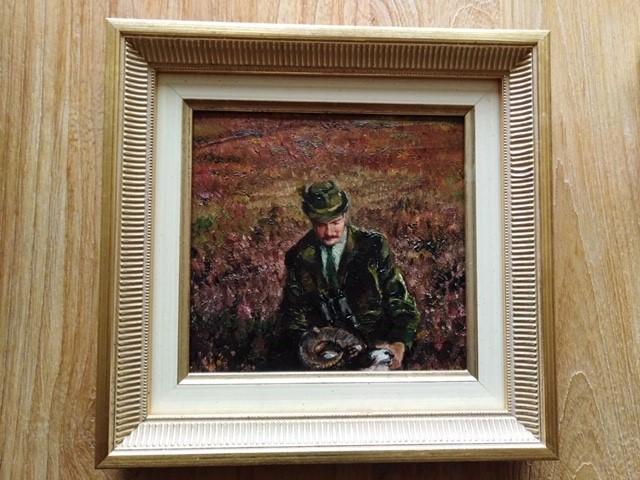 Het schilderijtje zelfportret met Rien zijn eerste moeflon - Foto: Klaas Stapensea