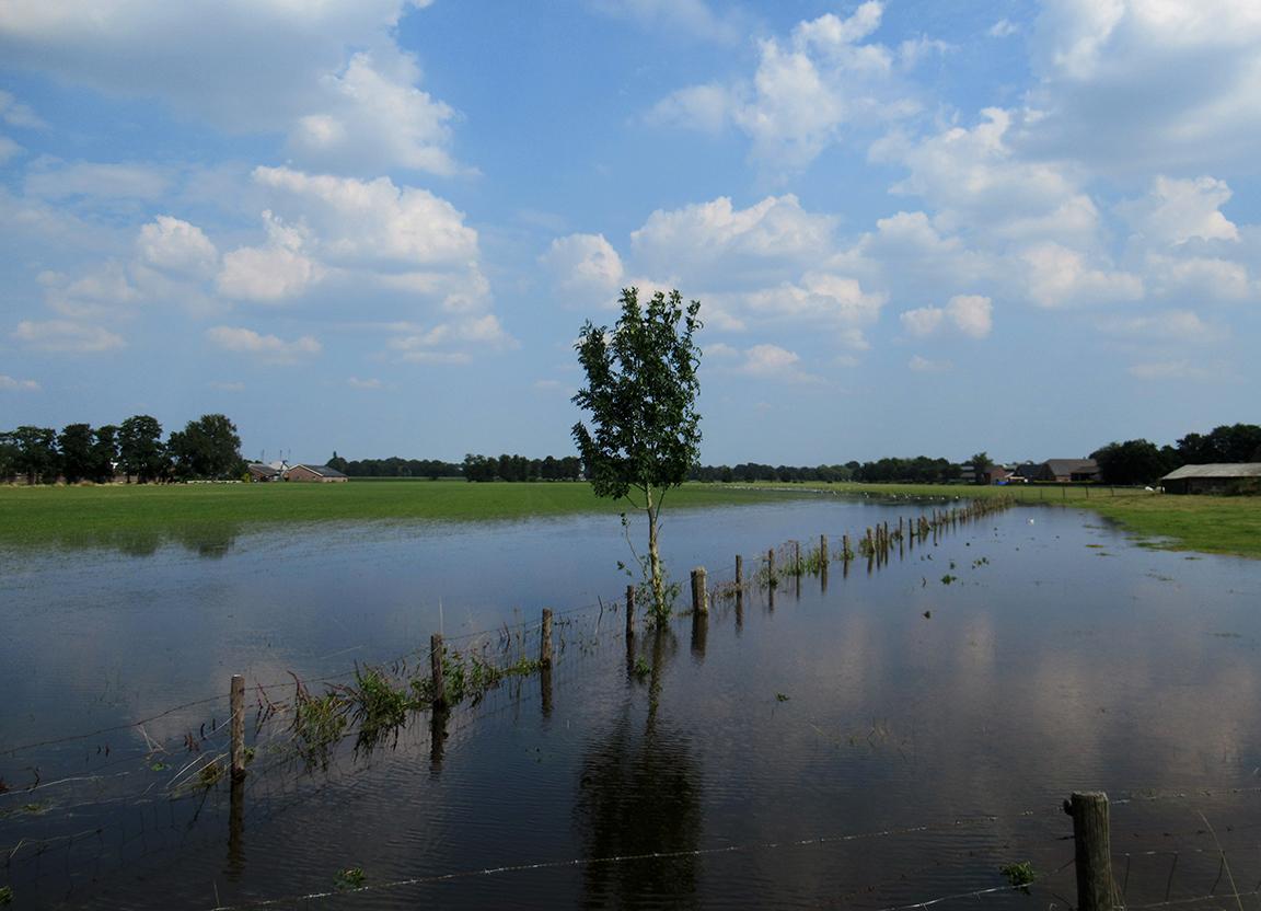 En zo ontstond een groot meer waar achterin de watervogels feest vierden - Foto: ©Fransien Fraanje
