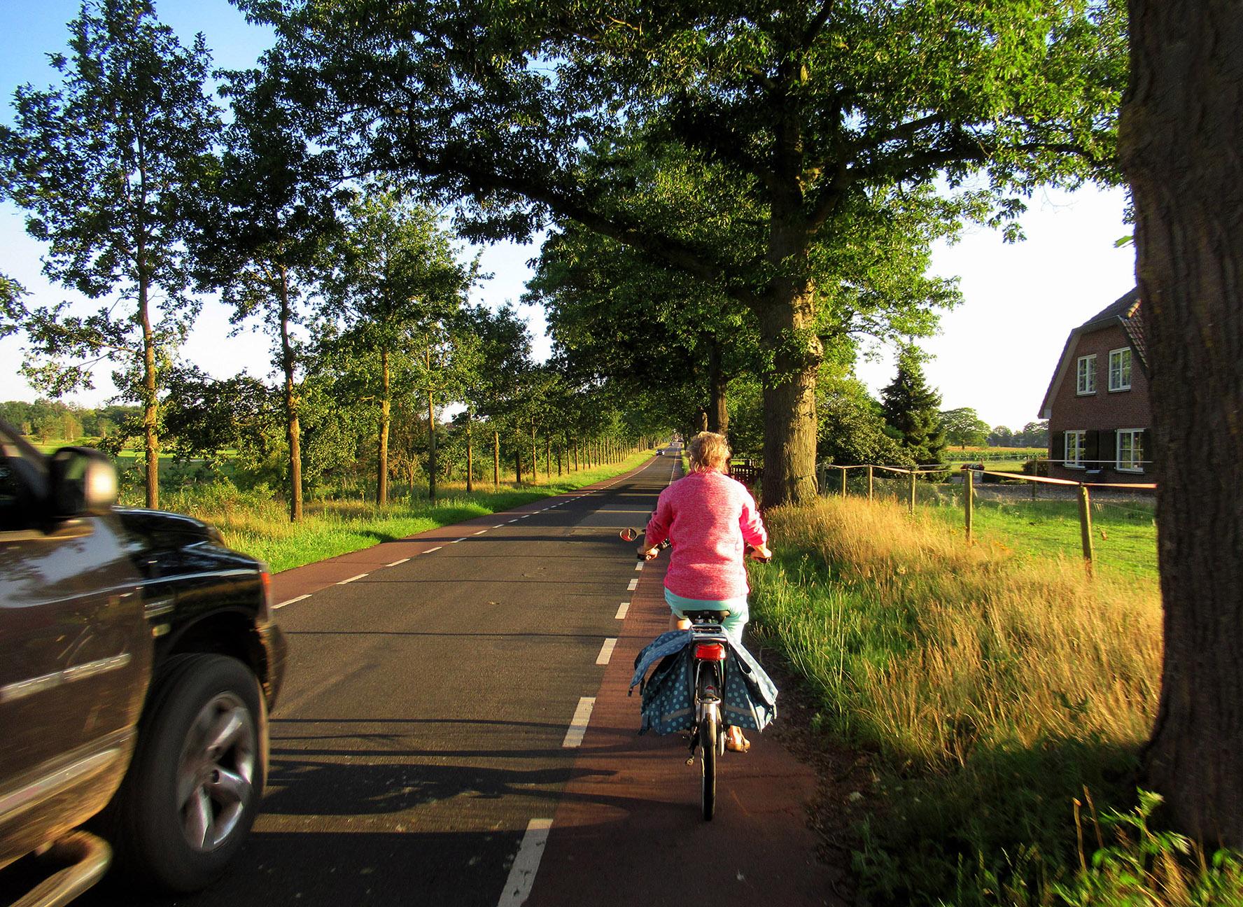 Het is aardig druk op de Telefoonweg richting Renkum, maar wel een prachtige omgeving - Foto: ©Louis Fraanje