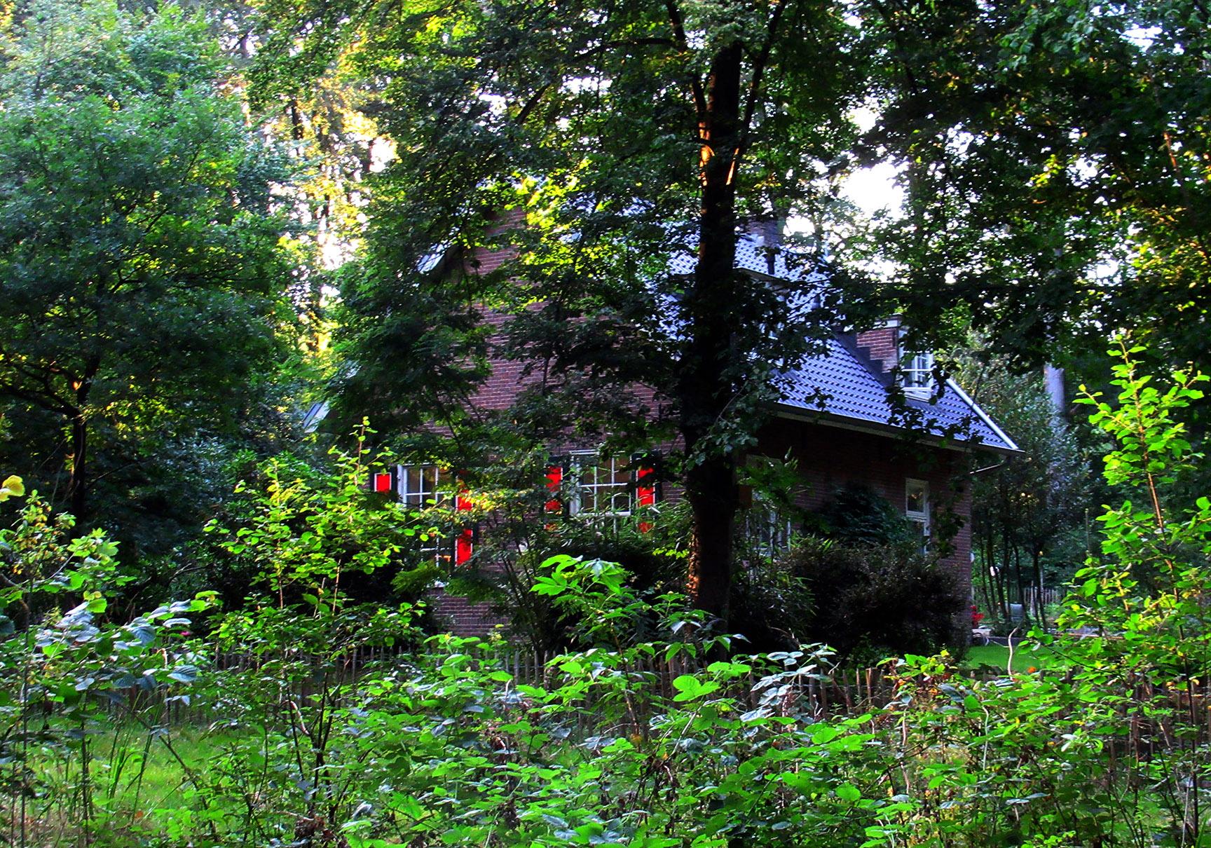 Vanaf Renkum fietsen we naar Bennekom en halverwege passeren we de oude boswachterswoning van onze vriend Jan Willems verscholen tussen het groen -Foto: © Louis Fraanje