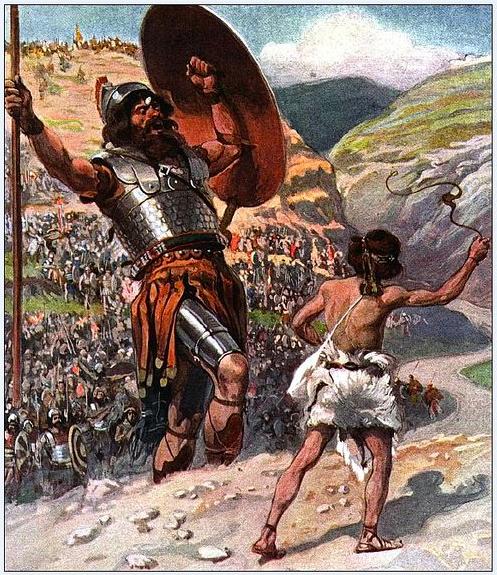 De reus Goliath wordt dodelijk getroffen door een steentje uit de slinger van David - Illustratie: SearchingTheScriptures.net.