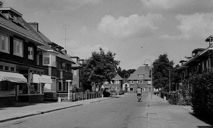 De Emmastraat vanaf de andere kant gezien, bijna aan het einde van de straat, voorbij de grote boom links was de winkel van Foto Nieuwstad - Foto: Archief Gem. Barneveld