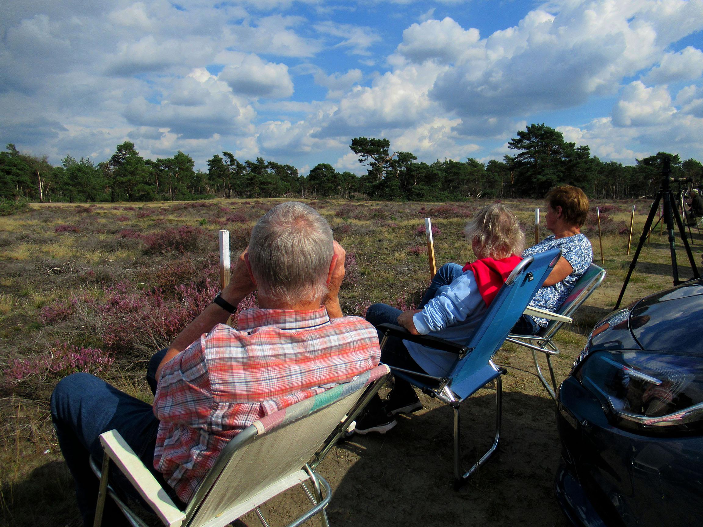 Zo zaten we lekker op onze klapstoeltjes aan de rand van de heide langs de Wildbaanweg – Foto: ©Louis Fraanje