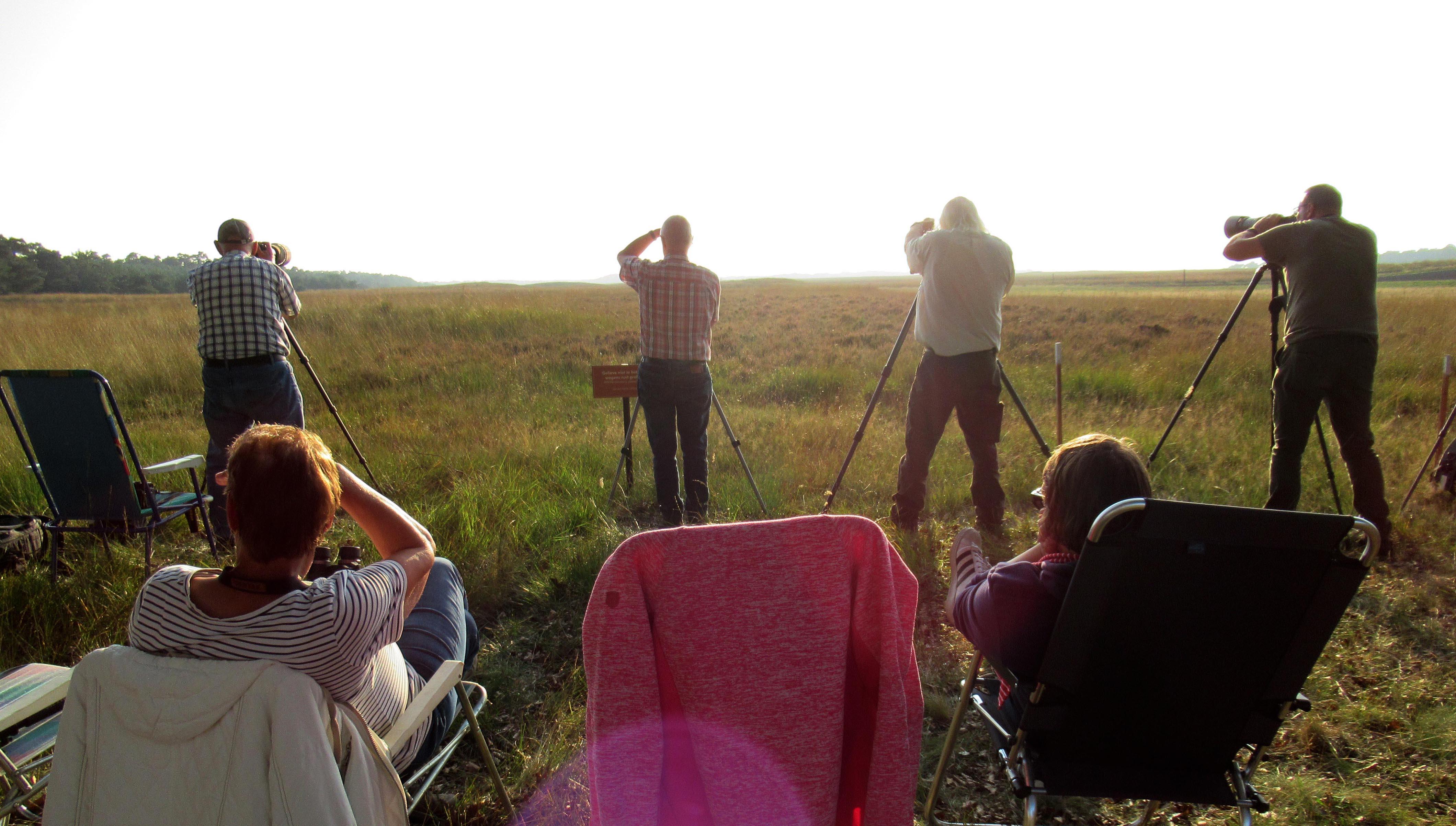 Vooraan de fotografen op hun post achter de camera's en op de stoelen Jannie en Thea – Foto: ©Fransien Fraanje