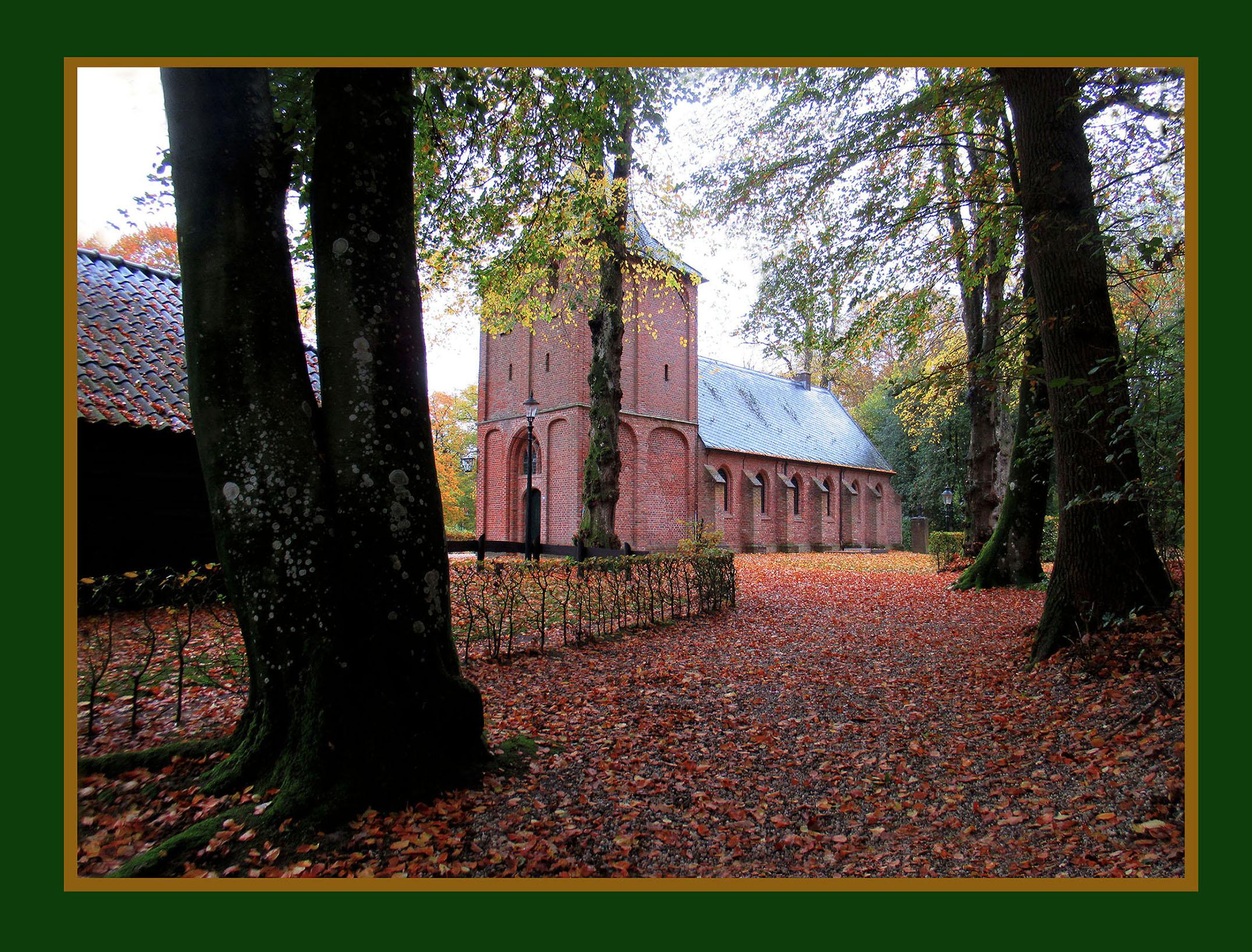 Verscholen tussen de bomen staat het eeuwenoude kerkje van Kootwijk - Foto: ©Louis Fraanje