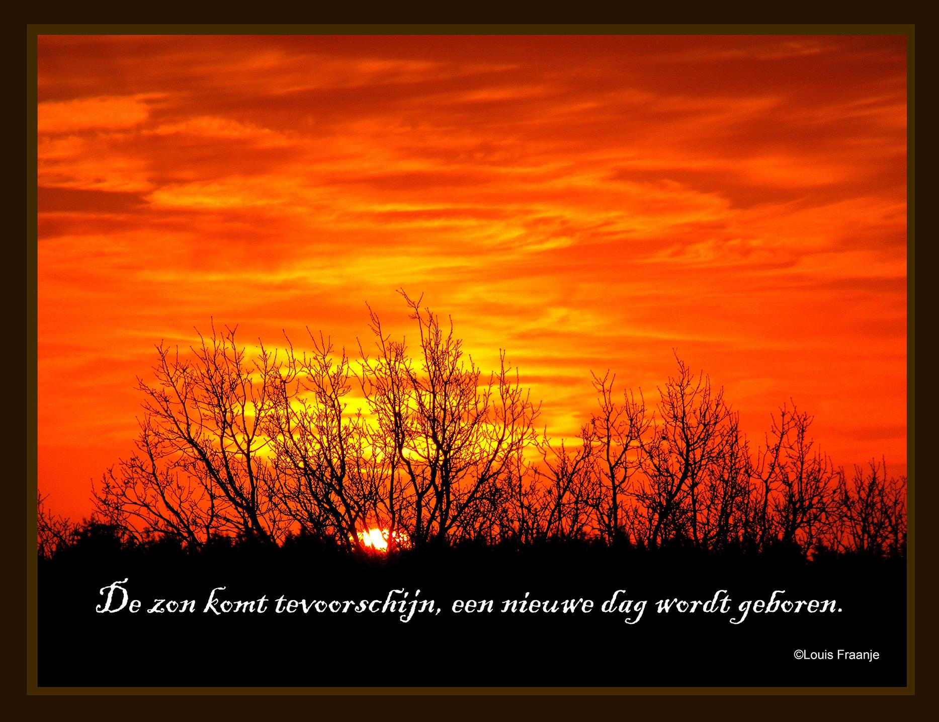 Zonsopkomst boven de Veluwe is iedere morgen voor ons een 'bijzonder' moment...  - Foto: ©Louis Fraanje