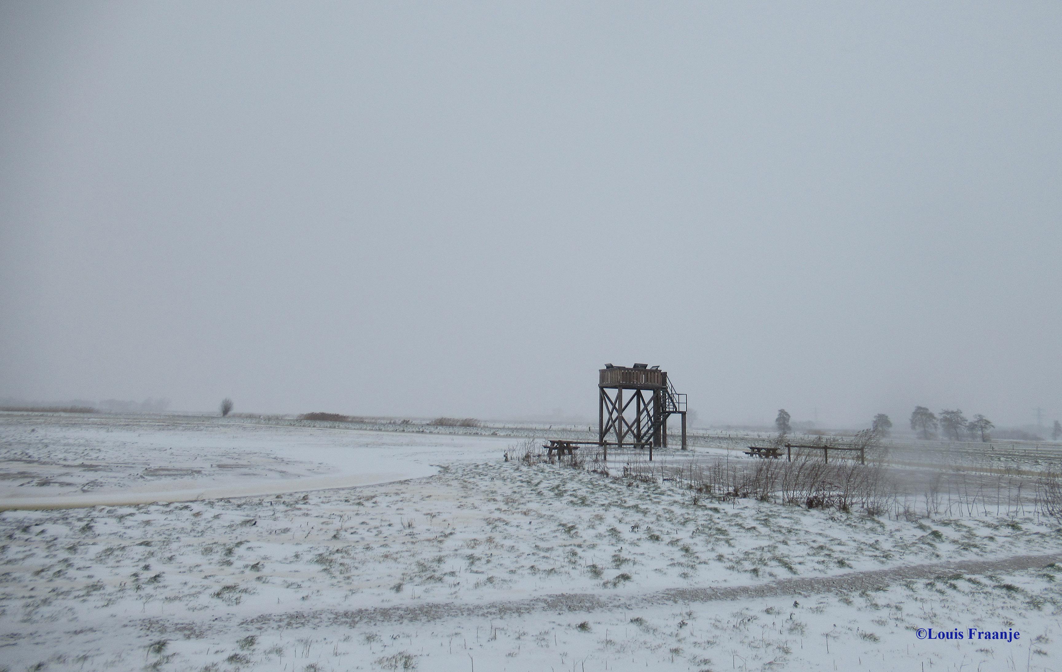 De uitkijktoren aan de Werftweg staat er stil en verlaten bij - Foto: ©Louis Fraanje